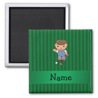 Personalized name golf player green stripes magnet