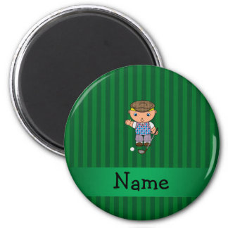 Personalized name golf player green stripes fridge magnet
