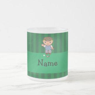 Personalized name golf player green stripes coffee mug