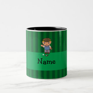 Personalized name golf player green stripes mugs