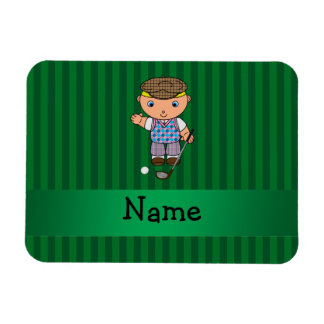 Personalized name golf player green stripes rectangular magnets