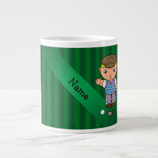 Personalized name golf player green stripes extra large mug