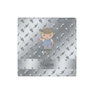 Personalized name golf player silver diamond plate stone magnet