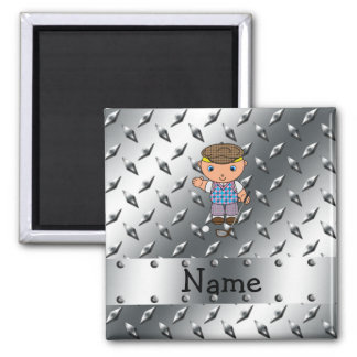 Personalized name golf player silver diamond plate refrigerator magnets