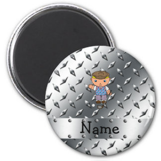 Personalized name golf player silver diamond plate fridge magnets