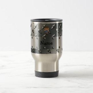Personalized name golf player silver diamond plate coffee mugs