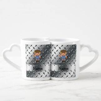 Personalized name golf player silver diamond plate lovers mugs