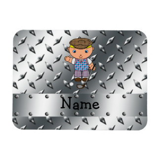 Personalized name golf player silver diamond plate rectangle magnet