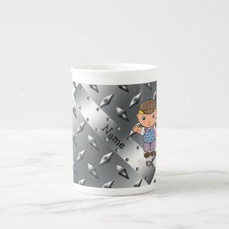 Personalized name golf player silver diamond plate porcelain mug
