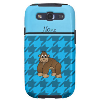 Personalized name gorilla blue houndstooth galaxy SIII cases