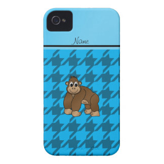 Personalized name gorilla blue houndstooth iPhone 4 cover