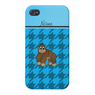 Personalized name gorilla blue houndstooth iPhone 4/4S case