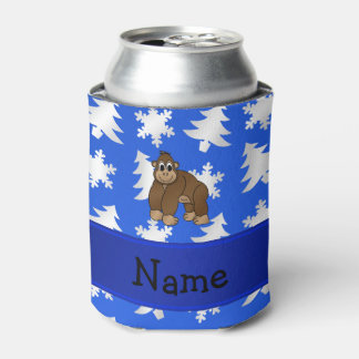 Personalized name gorilla blue snowflakes trees can cooler