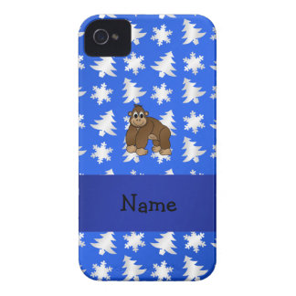 Personalized name gorilla blue snowflakes trees Case-Mate iPhone 4 case