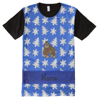 Personalized name gorilla blue snowflakes trees All-Over print T-Shirt