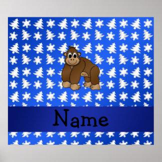 Personalized name gorilla blue snowflakes trees poster