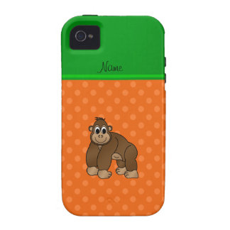 Personalized name gorilla orange polka dots iPhone 4 cover
