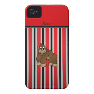 Personalized name gorilla red business stripe iPhone 4 case