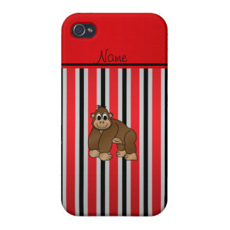 Personalized name gorilla red business stripe iPhone 4/4S cases