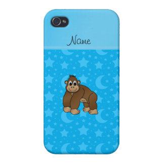 Personalized name gorilla sky blue stars moons iPhone 4 covers