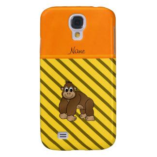 Personalized name gorilla yellow diagonal stripes galaxy s4 case