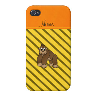 Personalized name gorilla yellow diagonal stripes iPhone 4/4S cover