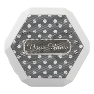 Personalized Name Gray and White Polka Dots Patter White Boombot Rex Bluetooth Speaker