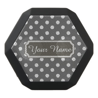 Personalized Name Gray and White Polka Dots Patter Black Boombot Rex Bluetooth Speaker