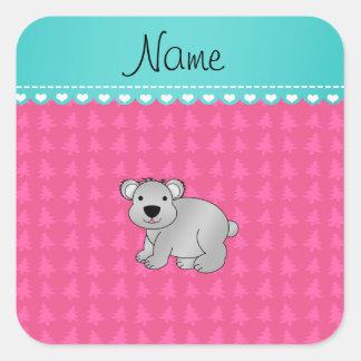 Personalized name gray koala pink Christmas trees Square Sticker