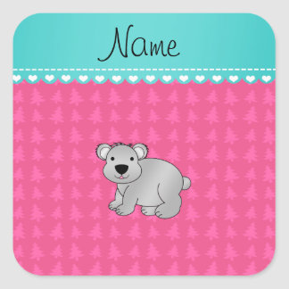 Personalized name gray koala pink Christmas trees Square Stickers