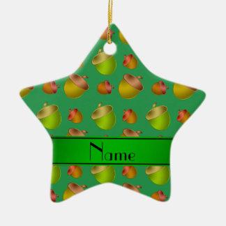 Personalized name green acorns ceramic star decoration