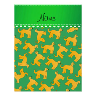 Personalized name green afghan hound dogs 21.5 cm x 28 cm flyer