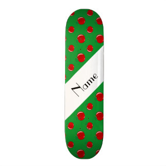 Personalized name green apples skateboard deck