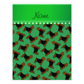 Personalized name green australian terrier dogs 21.5 cm x 28 cm flyer