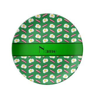 Personalized name green bacon eggs plate