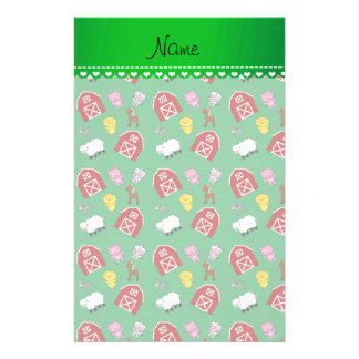 Personalized name green barn animals stationery