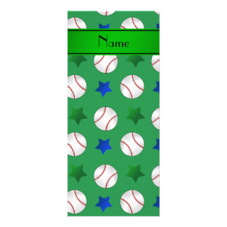 Personalized name green baseball blue green stars customised rack card