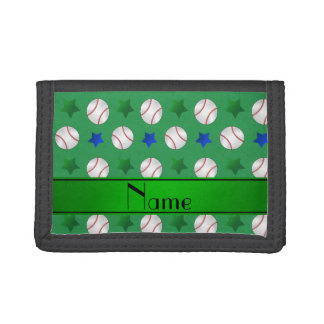 Personalized name green baseball blue green stars trifold wallet