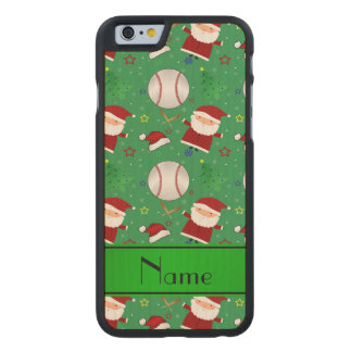 Personalized name green baseball christmas carved® maple iPhone 6 slim case