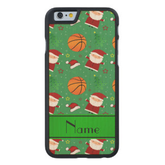 Personalized name green basketball christmas carved® maple iPhone 6 slim case