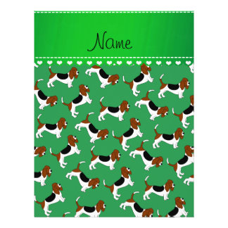 Personalized name green basset hound dogs 21.5 cm x 28 cm flyer