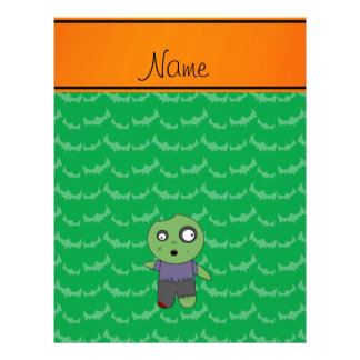 Personalized name green bats zombie flyer design