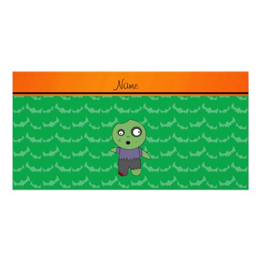 Personalized name green bats zombie customized photo card
