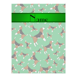 Personalized name green beagle dog pattern 21.5 cm x 28 cm flyer