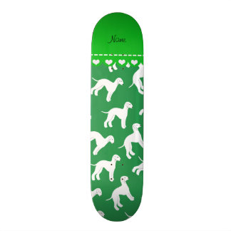 Personalized name green bedlington terrier dogs skateboard