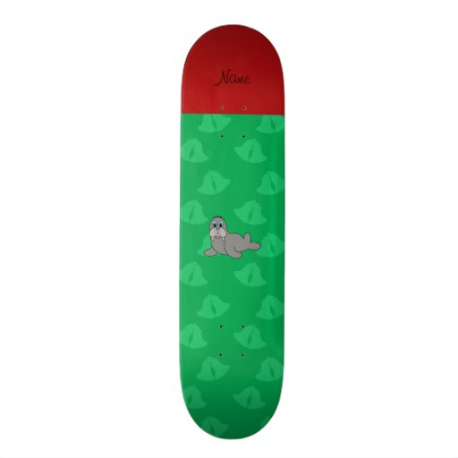 Personalized name green bells walrus skate board