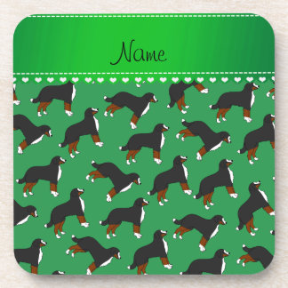 Personalized name green Bernese Mountain dogs Beverage Coasters