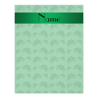 Personalized name green bicycle pattern 21.5 cm x 28 cm flyer