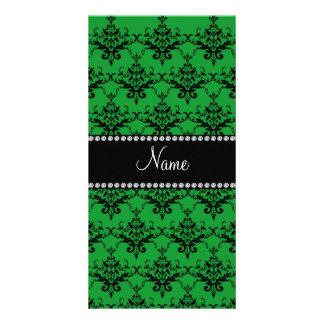 Personalized name Green black damask Customised Photo Card