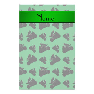Personalized name green black motorcycle racing stationery